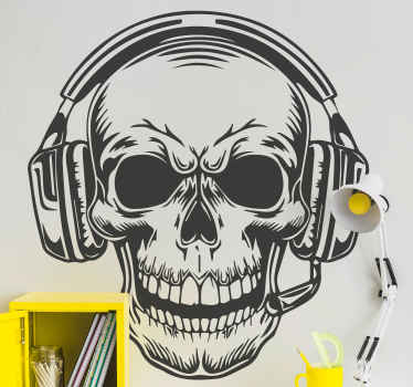 Skull with headset PlayStation sticker - A video gamer sticker to customize gaming room, bedroom and any other flat space.