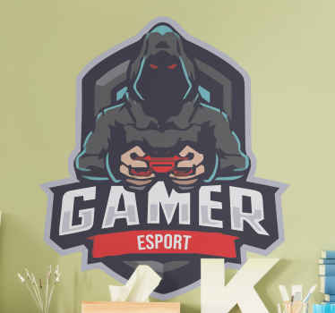 Gamer mascot logo PlayStation sticker - For your home decoration and other spaces. A lovely wall art sticker of gaming, illustrating the gamer esport.