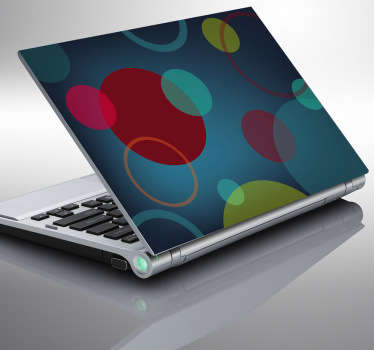 Blue Circles Laptop Stickers