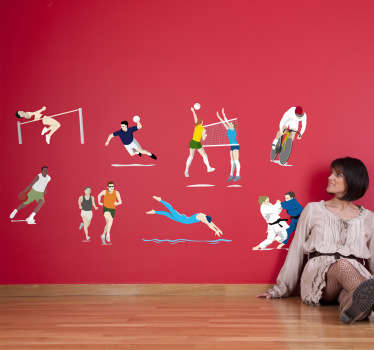 A collection of decorative stickers of different sports such as swimming, judo, cyclism, volley, etc. These are all present during the olympics.