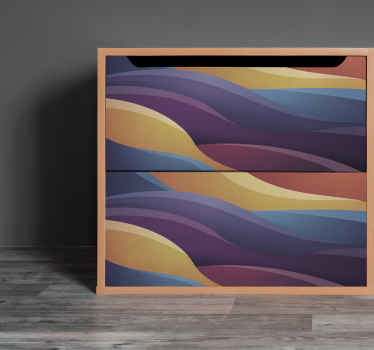 Decorate  your furniture space with this self adhesive furniture decal with design of abstract colorful wavy lines. Made of quality vinyl and durable.