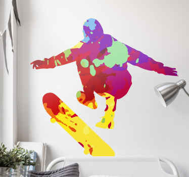Splash color skater wall art decal - Design for lovers of skateboarding, it would be a lovely decoration for teens who enjoy to skate.