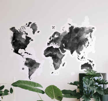 plash color grey shaded world map wall sticker - Lovely design to add an abstract artistic touch on any space. It is self adhesive and durable.