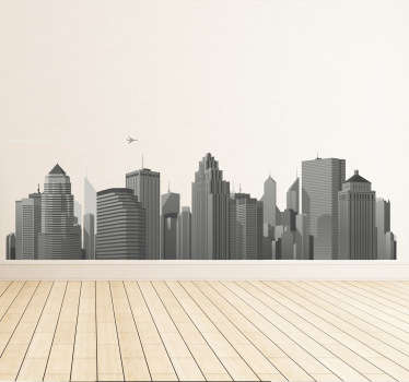 A superb skyline decal of the city illustrating many modern buildings! Give your office a new look with this modern wall sticker.