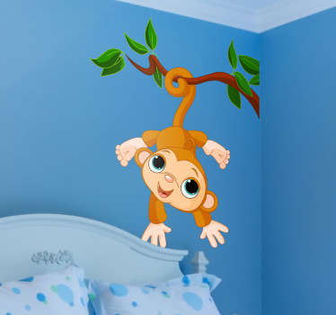 Add some fun and amusement to your child's bedroom with this adorable sticker of a playful baby monkey hanging from the branch of a tree.
