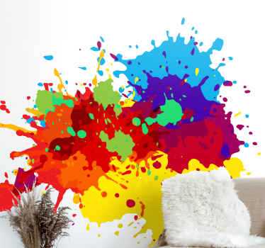 Abstract colors splash abstract wall sticker - Easy to apply, removable and does not crease or leave any residues on the wall.