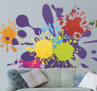 Multi colored spot abstract wall sticker - It is easy to apply, self adhesive and does not wrinkle or peel off. Customizable to any size.