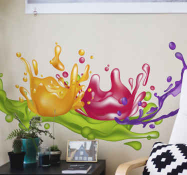 This painting splash abstract wall sticker can be decorated on any space in a house to enhance it with brilliant and attractive look.