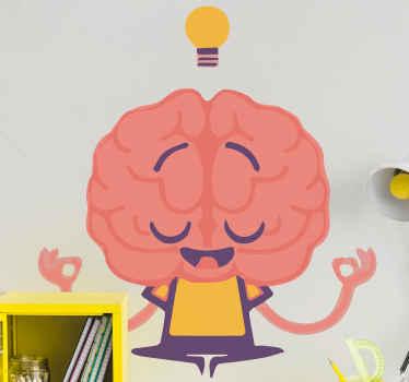 Hersen muursticker met een mooie afbeelding van een brein die mediteert met een gloeilamp boven zijn hoofd. Bestel hem vandaag nog!
