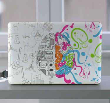An interesting illustrative brain laptop sticker. The design illustrates the two sides of the brain  with one side colorful with various illustrations.