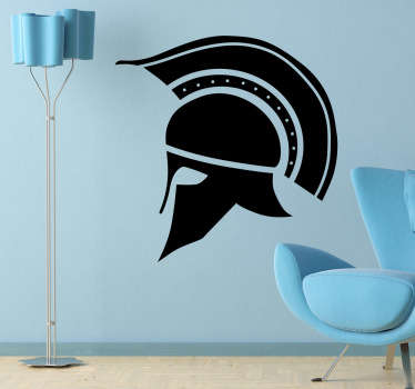 A decorative sticker of a historical helmet that belonged to the Corinthians. A fantastic symbol that represents the battles in ancient Greece.