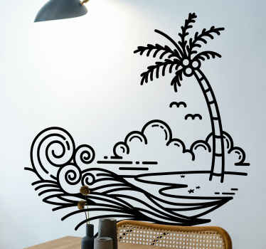 Artistic waves with palm tree wall sticker that is customizable in any other colour of choice. It is durable and self adhesive.