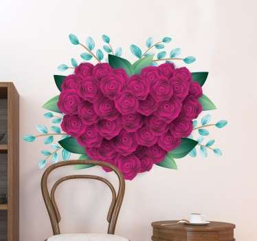 Sticker rozen roze