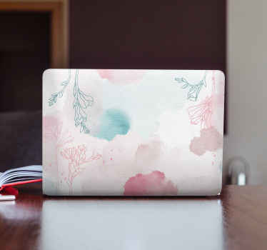 Decorate your laptop in this original pastel with coloured flowers laptop skin. It is self adhesive, durable and easy to apply.