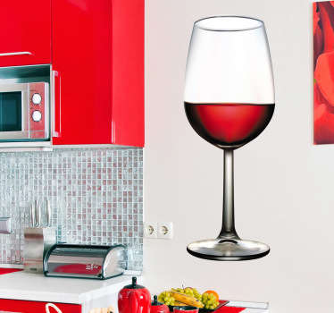 Decorate the wall of your kitchen with this glass of red wine decal! A brilliant red wall sticker that is very realistic. You can now personalise your own space by decorating your walls or other flat surfaces with this fantastic design!