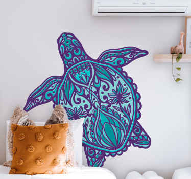 Colorful and lovely looking decorative turtle in mandala style sticker. Suitable for any room in a house, for children room, common space, etc.