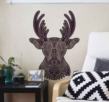 Looking for an ethical design to add a lovely tribal art effect on a space. This mandala texture head of deer animal decal would be perfect.