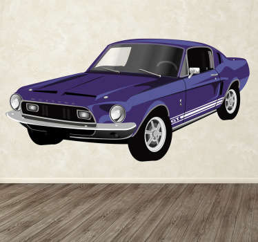 Decorative sticker of the classic North American car. The famous ford mustang with its striking appearance, windows and windshields.