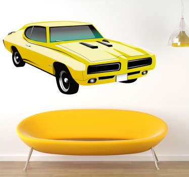 A decorative decal of a classic yellow Pontiac GTO from the 70s. Full of power! Very easy to apply and remove from all surfaces.
