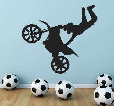 Wall Stickers - Silhouette illustration of a motocross biker doing an acrobatic jump. Decals made from high quality vinyl, easy to apply and remove.