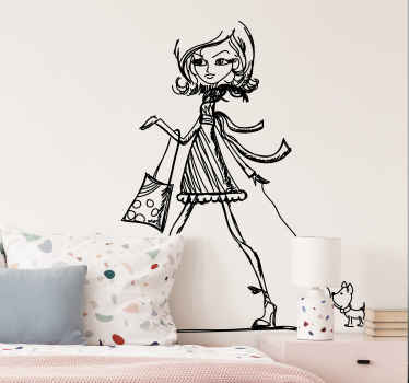 Posh Girl Sketch Wall Sticker