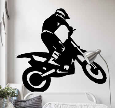 Room Stickers - Illustration of a motocross athlete. Off cross motorcycling at its best. Easy to apply. Personalised stickers.