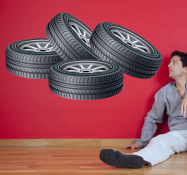 Wall Stickers - Illustration of four tyres. Available in various sizes. Decals. Wheels and rims.