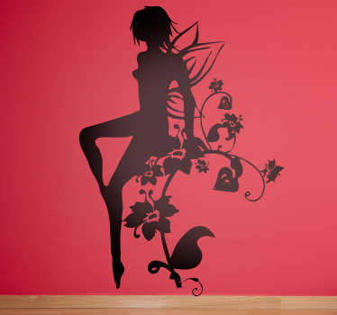 Decals - Silhouette illustration of a fairy with small wings sitting on a floral vine. An elegant feature great for adding a touch of magic to a room.