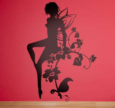 Adesivo murale silhouette fata su fiori