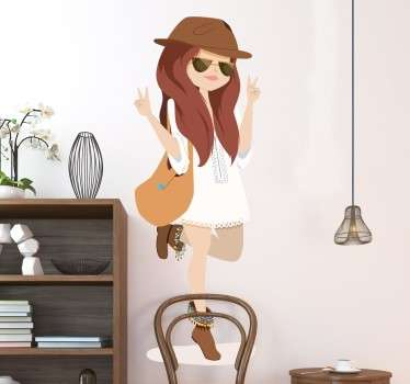 Vinilo dibujo a mano chica con bolso