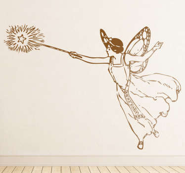 This wall sticker of a woman as a fairy is ideal for environments with children.