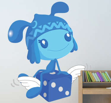 Kids sticker of a sweet blue pixie sitting on a flying dice. Perfect for children's playrooms.