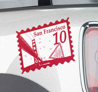 Decorative San Francisco card car sticker - This can be decorated on any space on a vehicle, on the bonnet, bumper, door or window space.