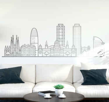 Barcelona buildings skyline sticker - Enhance the look on any space with the presence of Barcelona skyline  with this design.