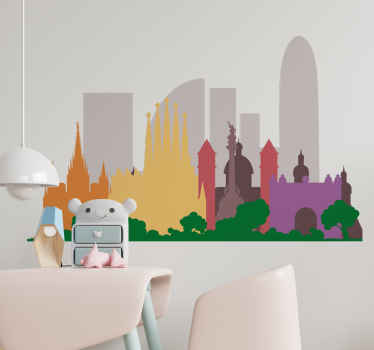 Colorful Barcelona buildings skyline sticker -  This would be nice to customize children bedroom and also can be applied on any other space.