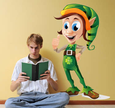 A fantastic wall decal of a friendly Irish elf with his thumb up in a way to tell everyone that everything is fine!