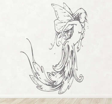 A sticker with an impressive drawing of a beautiful and classic style fairy with a flowing dress.