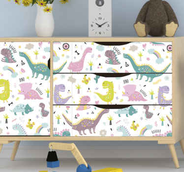Dinosaur kallax furniture decal - The product is made of high quality, easy to apply and can be customized to any dimension you want.