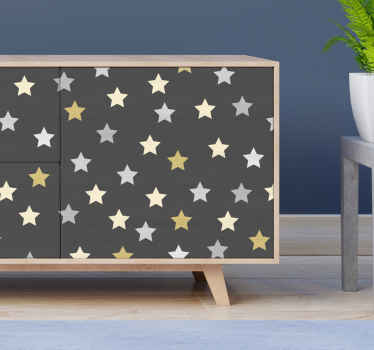 Golden stars kallax furniture decal - Beautiful decorative vinyl decal for furniture with brown backgrounds and star prints.
