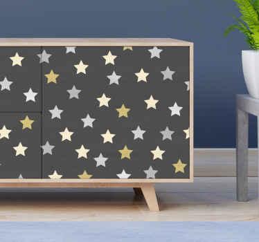 ゴールデンスターカラックス家具デカール-茶色の背景とスタープリントの家具用の美しい装飾ビニールデカール。