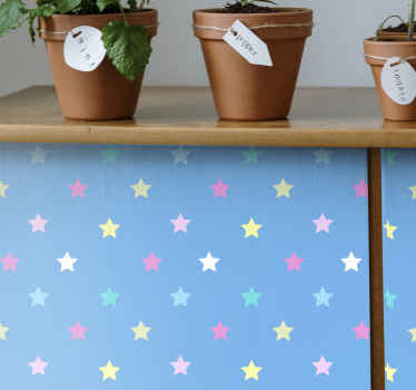 Decorate your furniture space with our high quality vinyl decal for furniture. The design is made of blue background with multicolored star prints.