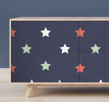 Decorative furniture vinyl decal with lovely design of colour star prints on black background. It is self adhesive , easy to apply and removable.