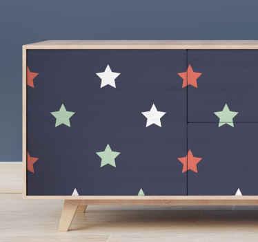 黒の背景にカラースタープリントの素敵なデザインの装飾家具ビニールデカール。それは自己接着性で、適用が簡単で、取り外し可能です。