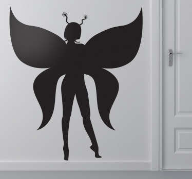 Kids Wall Stickers - Silhouette illustration a magical illustration with butterfly like wings. Ideal for decorating areas for children.