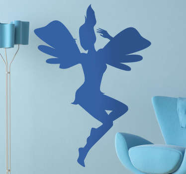 Kids Wall Stickers - Playful and fun illustration of a jumping pixie. Ideal for decorating areas for children.