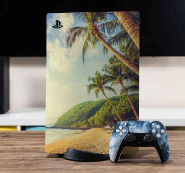 Decorative PS5 vinyl deal to cover the surface of your device with an amazing look. It design is a beautiful beach side with palm trees and high land.