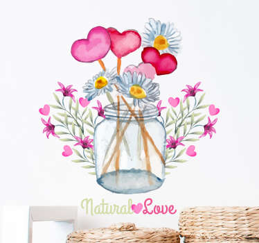 An original and fun floral wall sticker of a bunch of happy flowers and love hearts with the words 'Natural Love' from our collection of daisy wall stickers. If you love daisies and feel like your walls are a bit empty then this daisy decal is perfect for bringing some colour into your home.