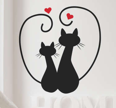 猫のシルエットとハートウォールステッカー