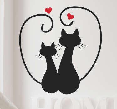 Vinilo infantil amor gatuno