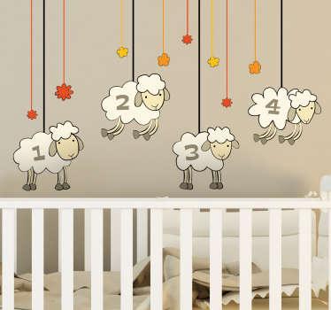 Vinilo de ovejas que muestra la ilustración de ellas portando números a modo de carrusel.